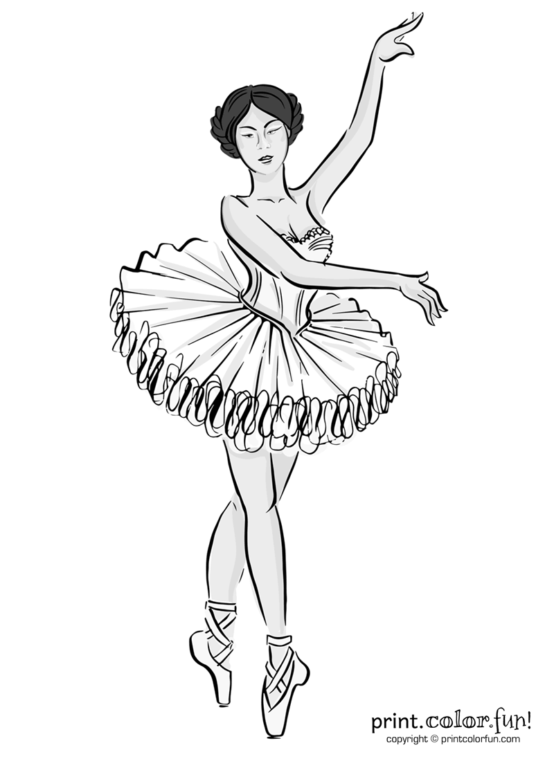 Ballet Dancer In A Tutu Coloring Page Print Color Fun