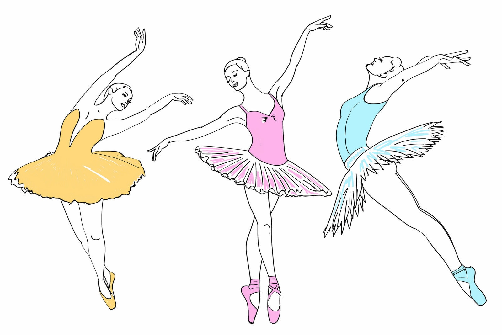 6 beautiful ballerina coloring pages
