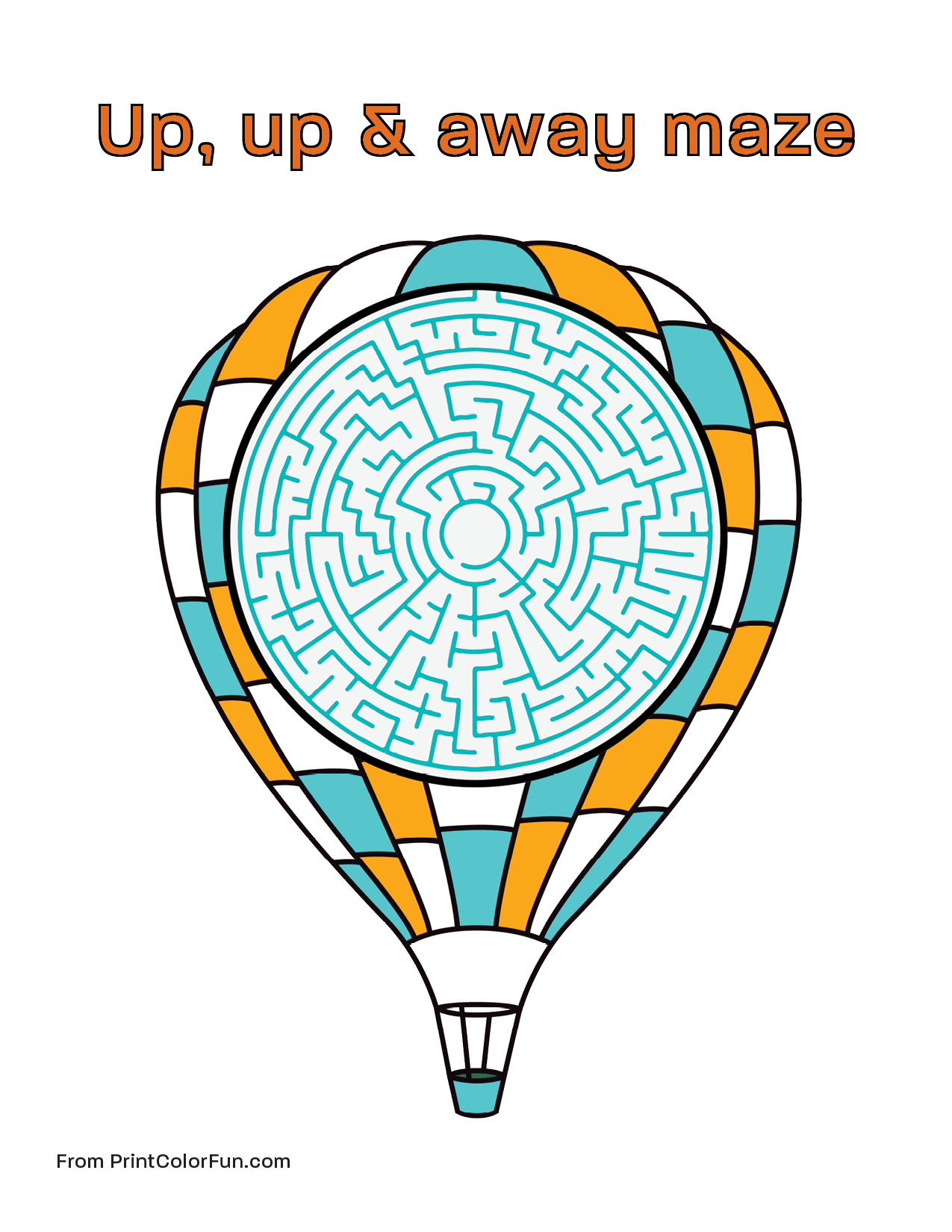 Hot air balloon maze for kids coloring