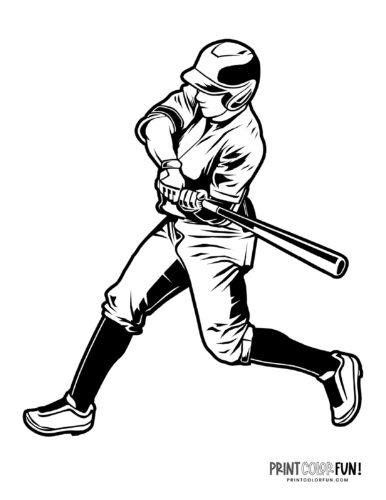 Baseball batter in helmet - Free sports printable