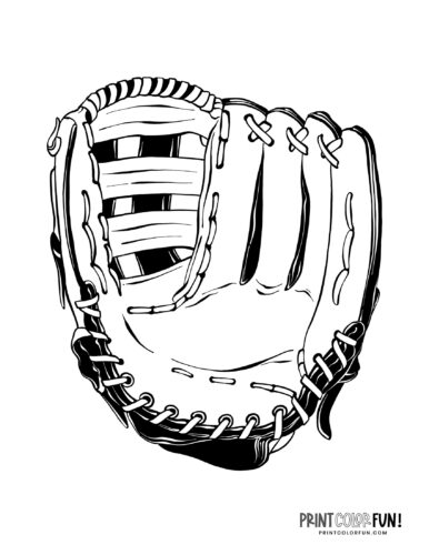 Baseball mitt coloring page