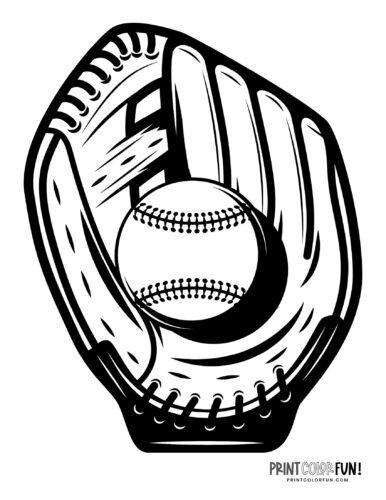 Baseball mitt with ball printable coloring page