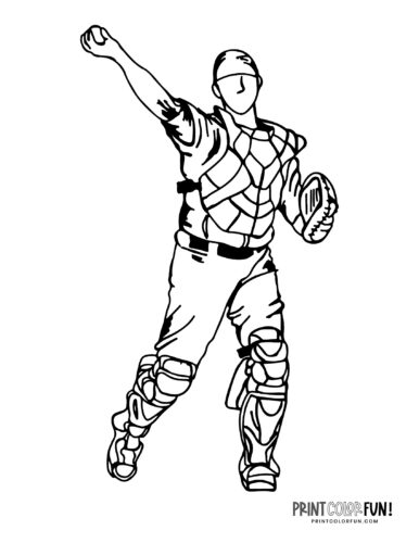 Catcher - Baseball player coloring page