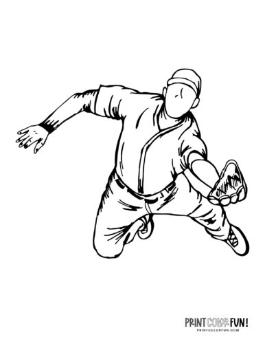 Outfielder - Baseball player coloring page