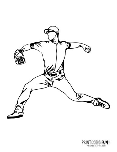 Pitcher - Baseball player coloring page (7)