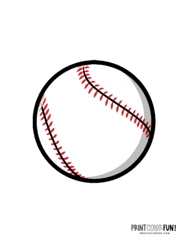 Baseball with red stitching printable page