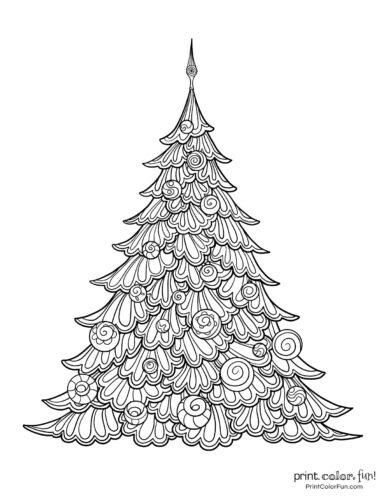 Beautiful Christmas tree printable with swirls