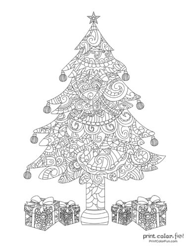 Beautiful detailed Christmas tree coloring page