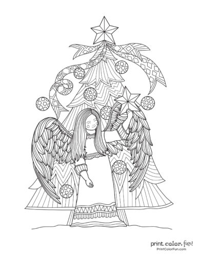 Beautiful fancy Christmas tree with an angel