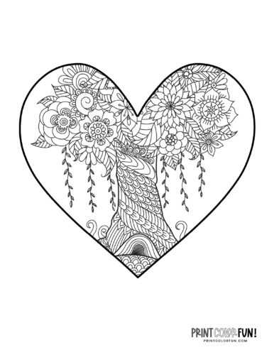 Beautiful tree design inside a heart - Printable coloring book page