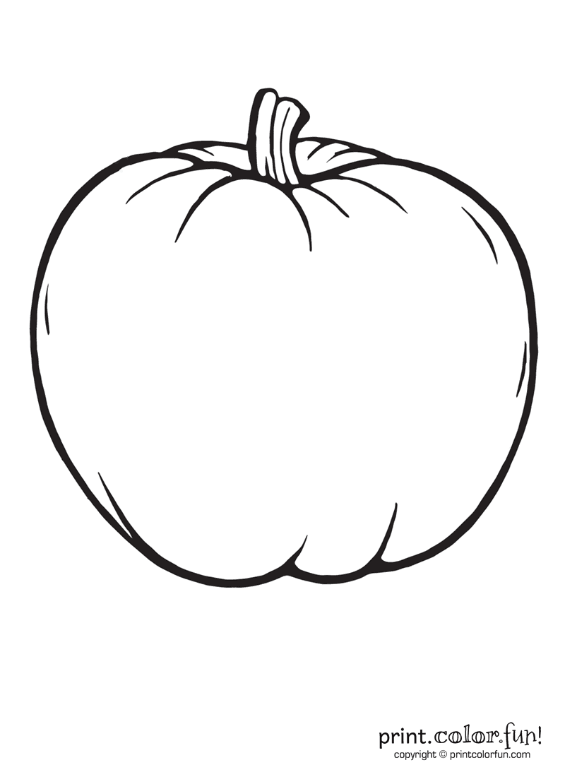 a big blank pumpkin to color coloring page print color fun