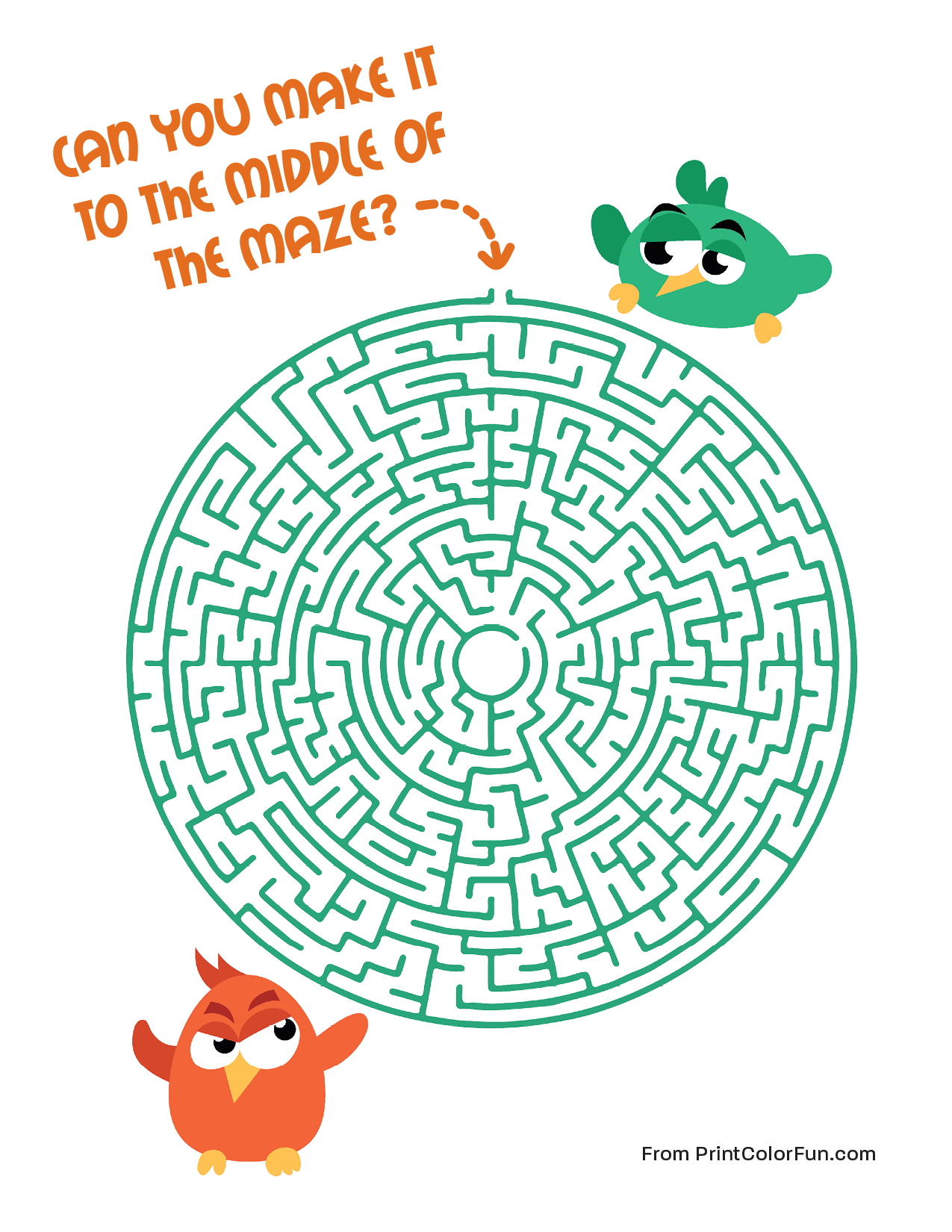 Bird maze - Hard level coloring page - Print. Color. Fun!