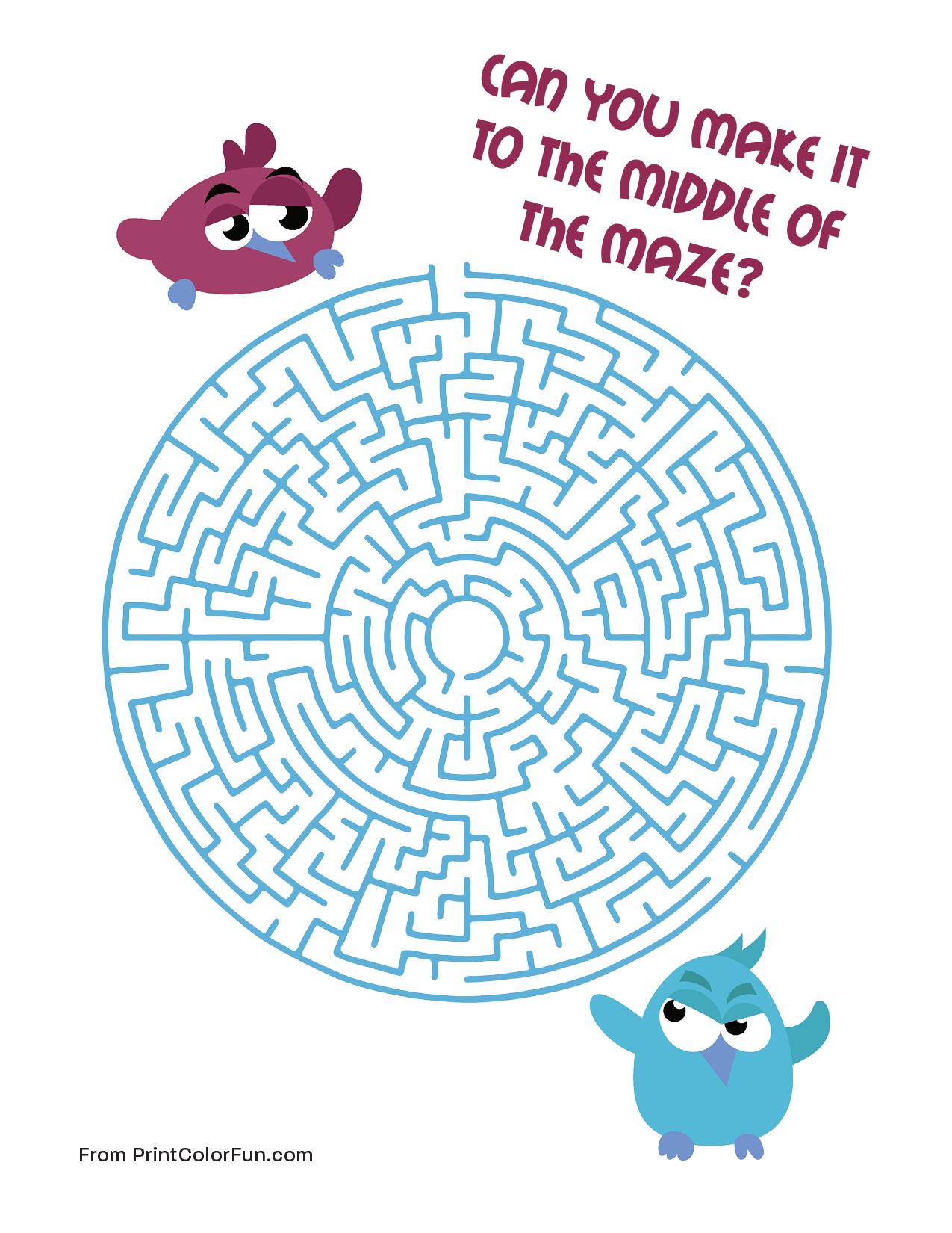 Bird Maze Medium Level Coloring Page Print Color Fun
