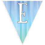 Blue-green striped party decoration flags with white letters