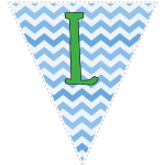 Blue zig-zag party decoration flags with green letters 12
