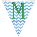 Blue zig-zag party decoration flags with green letters