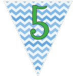 Blue zig-zag party decoration flags with green letters 11