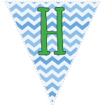 Blue zig-zag party decoration flags with green letters 8