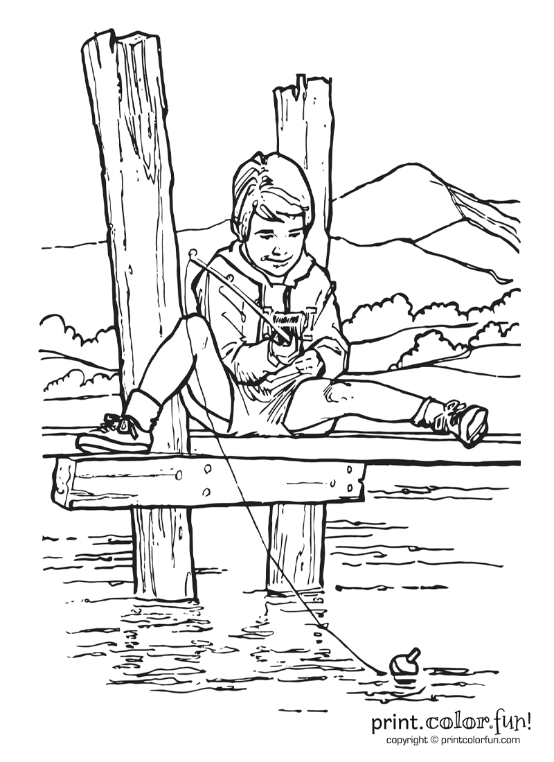 Boy Fishing Drawing