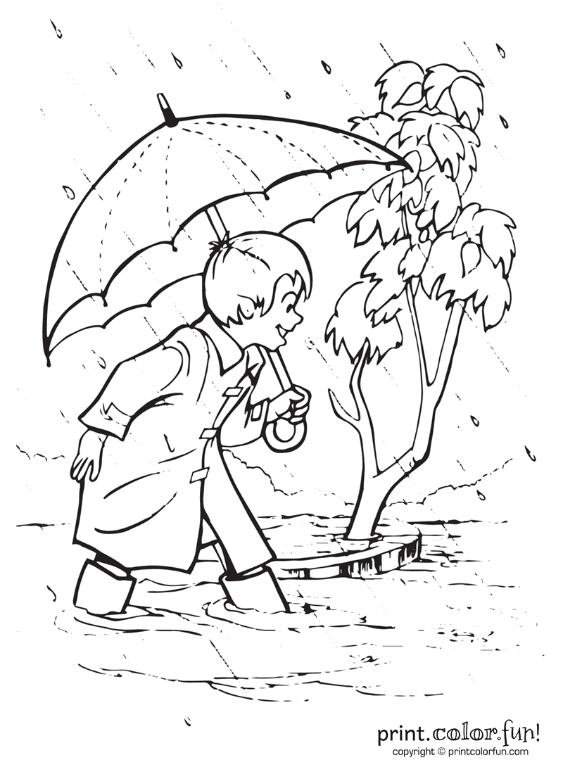 rain coloring pages - boy playing outside in the rain coloring page print