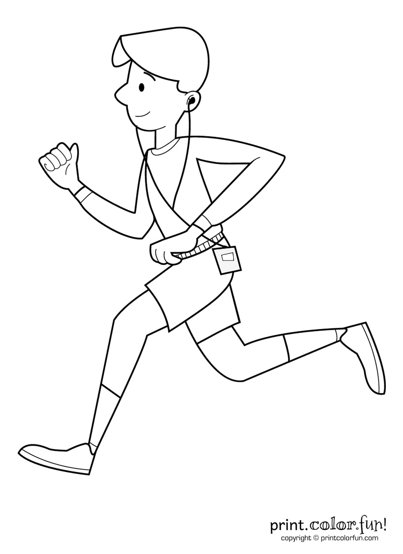 Boy Running And Listening To Music Coloring Page Print