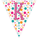 Bright polka dot decoration flags with pink letters 11