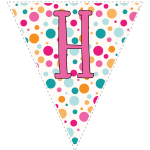 Bright polka dot decoration flags with pink letters 8