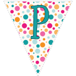 Bright polka dot decoration flags with teal letters 128