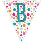 Bright polka dot decoration flags with teal letters 2