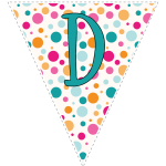 Bright polka dot decoration flags with teal letters 4