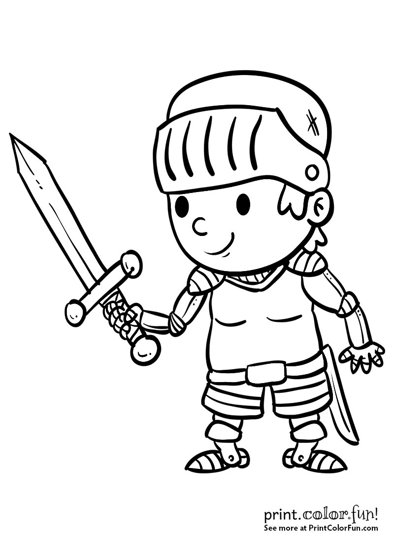 cartoon boy knight with a sword coloring page print color fun