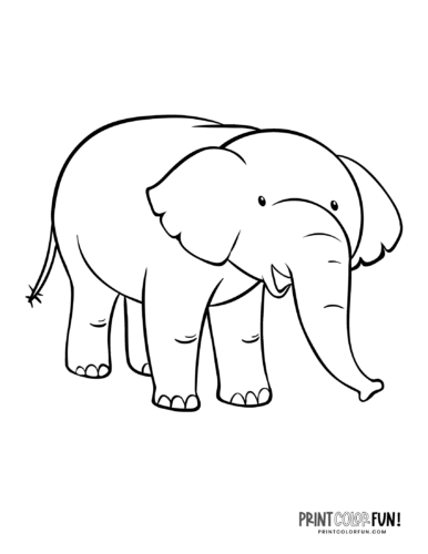 Cartoon elephant coloring pages from PrintColorFun-com (10)