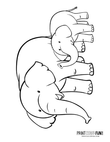 Cartoon elephant coloring pages from PrintColorFun-com (11)