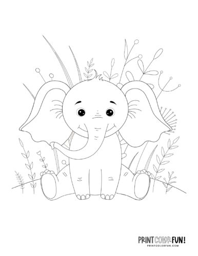 Cartoon elephant coloring pages from PrintColorFun-com (13)