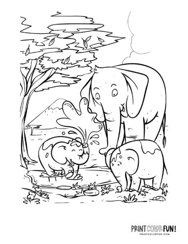 Cartoon elephant coloring pages from PrintColorFun-com (2)