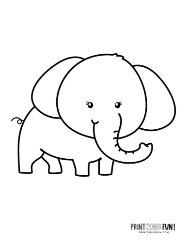 Cartoon elephant coloring pages from PrintColorFun-com (7)