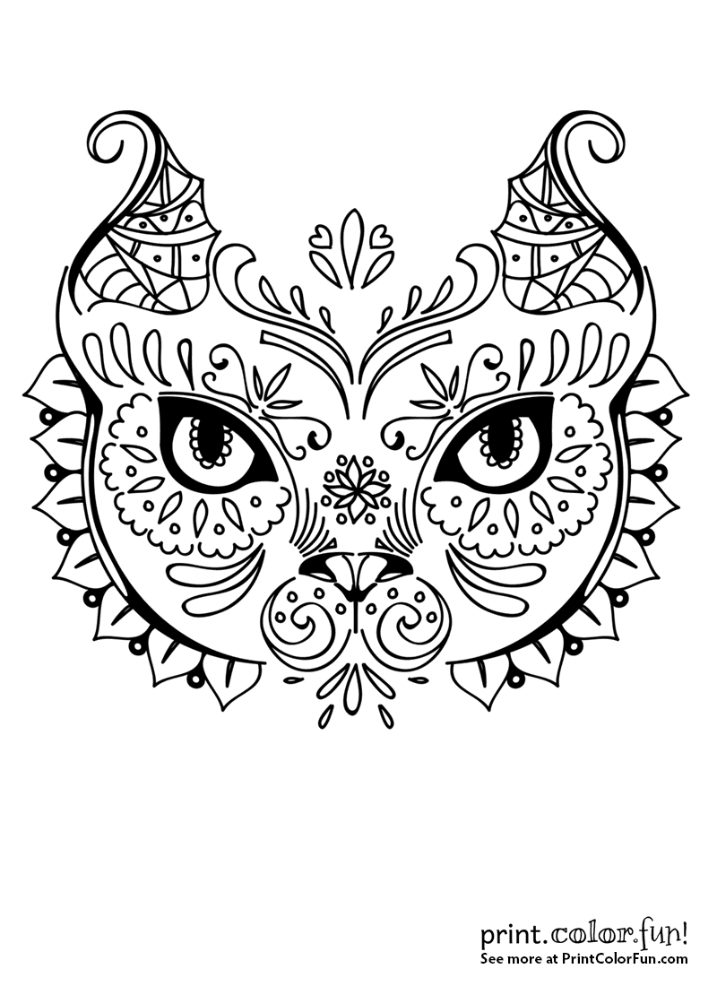 Cat face in exotic design coloring page - Print. Color. Fun!
