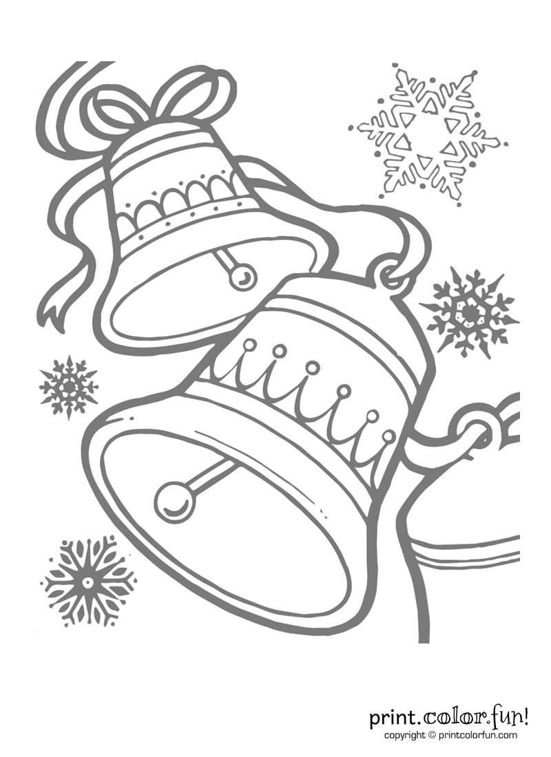 Christmas Bells Low Ink Coloring Page