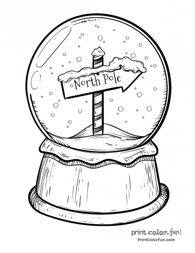 Christmas snow globe with North Pole sign coloring page ...