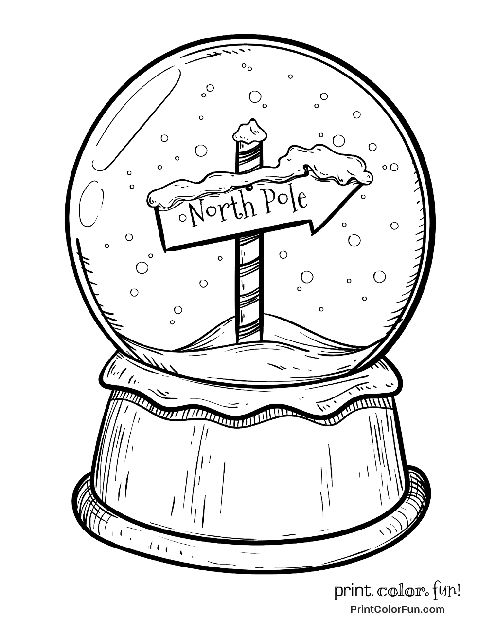 fox snow globe coloring pages - photo#11