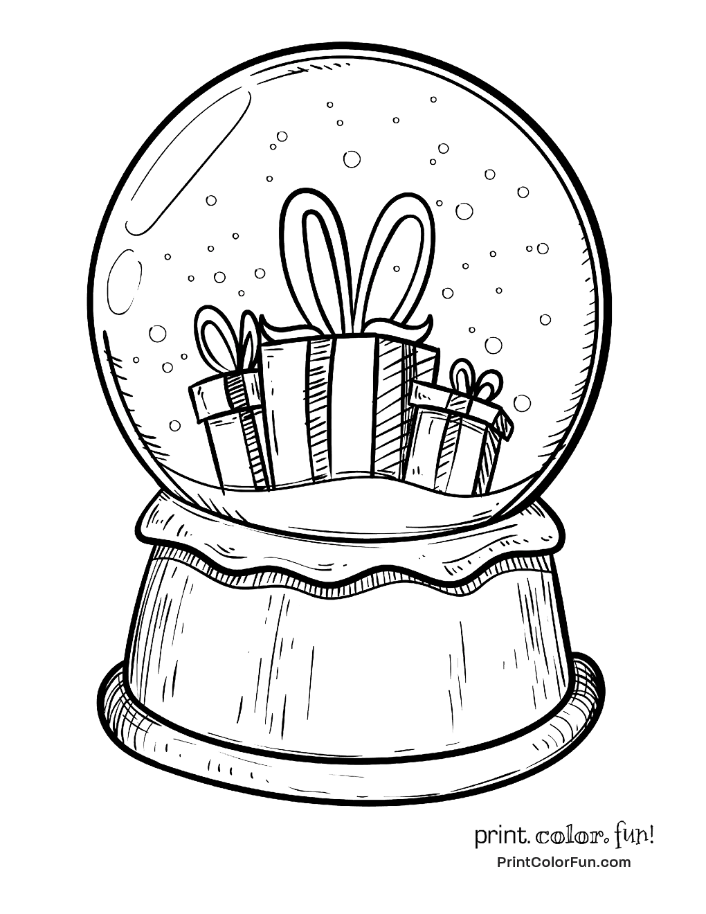 Snow globe with Christmas presents