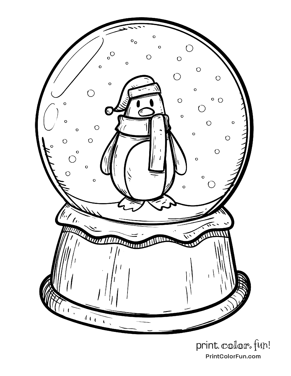 Winter snow globe with a penguin coloring page - Print ...
