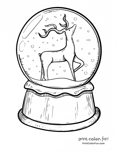 Christmas snow globe with reindeer
