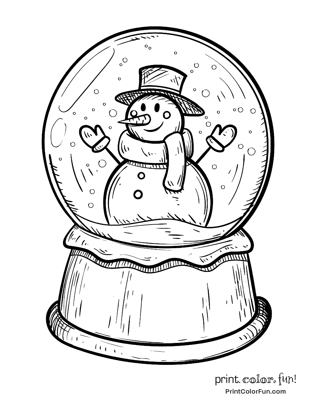 Winter Snow Globe With Snowman Coloring Page Print
