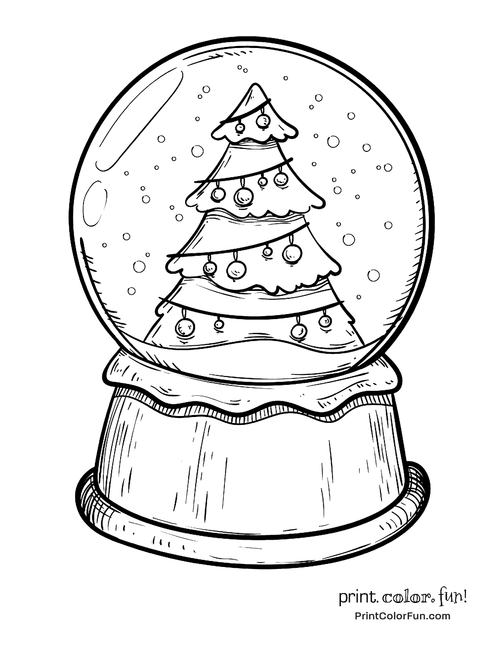 christmas snow globes coloring pages - photo#13