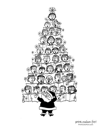 Christmas tree coloring page - Santa leading a choir