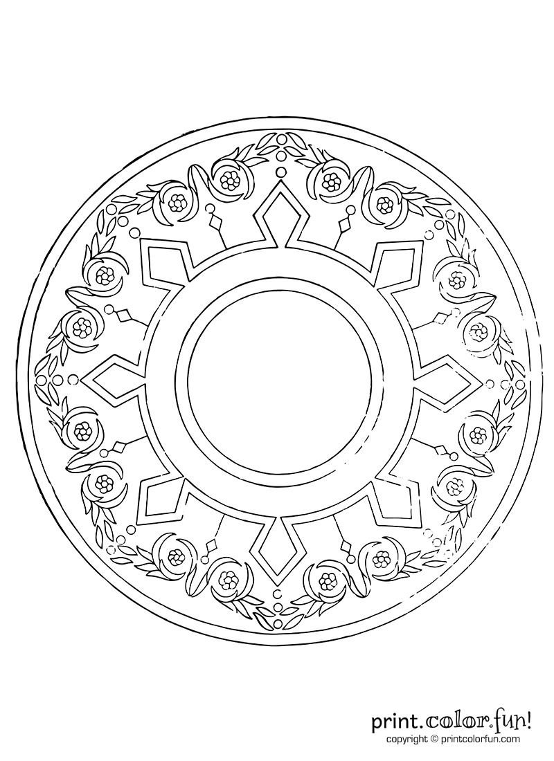 Vintage circular wreath pattern coloring page print for Circle pattern coloring pages