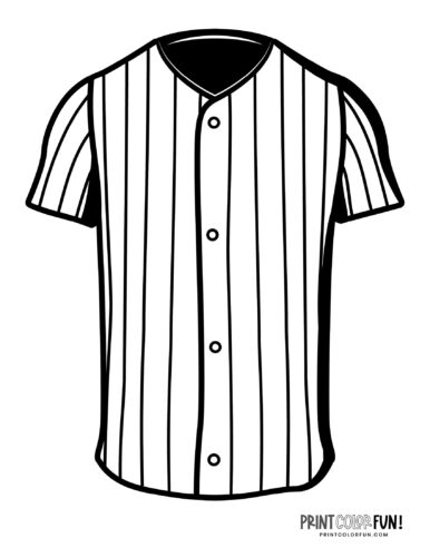 Classic baseball player uniform shirt coloring page