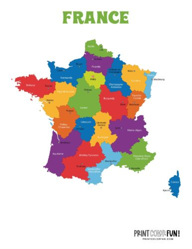 Color map of France c2015