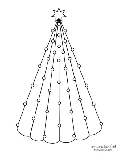 Cone-shaped Christmas tree with small decorations